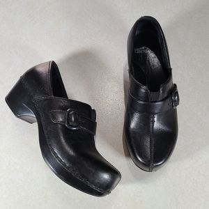 Dansko Tamara Black Leather Clogs Size 36
